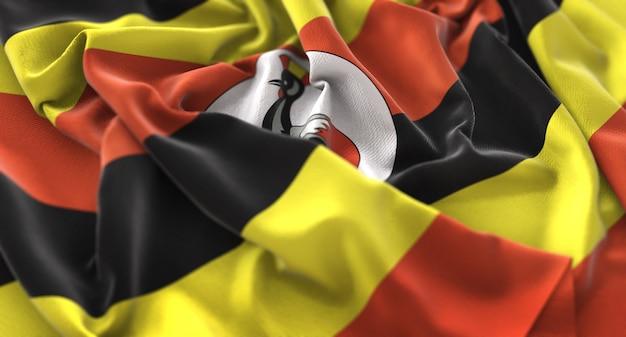 Uganda-flagge gekräuselt schön winken makro nahaufnahme shot Kostenlose Fotos