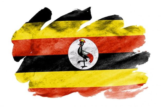 Uganda-flagge wird in der flüssigen aquarellart dargestellt, die auf weiß lokalisiert wird Premium Fotos