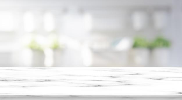 Unscharfer moderner innenbadezimmerquadrathintergrund mit weißer marmormustertischplatte Premium Fotos