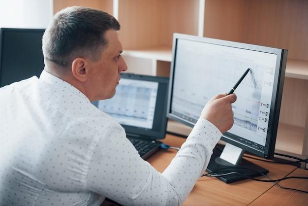 Unser kunde war nicht ganz ehrlich. der polygraph-prüfer arbeitet im büro mit der ausrüstung seines lügendetektors Kostenlose Fotos