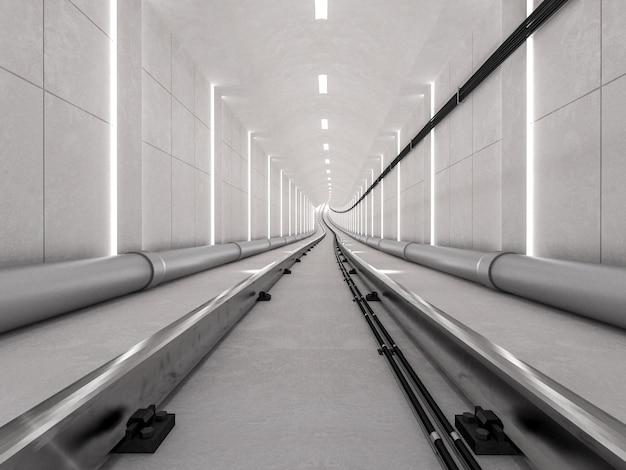 Untergrundbahntunnel mit heller bahn und ankommendem konzept, 3d übertragen. Premium Fotos