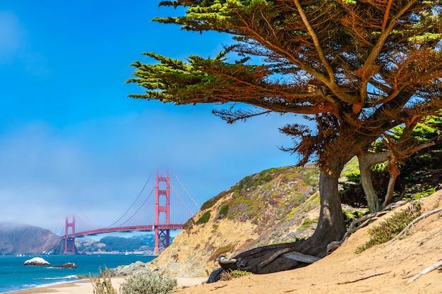 Unterschiedliche ansicht der ikonenhaften golden gate bridge. Premium Fotos