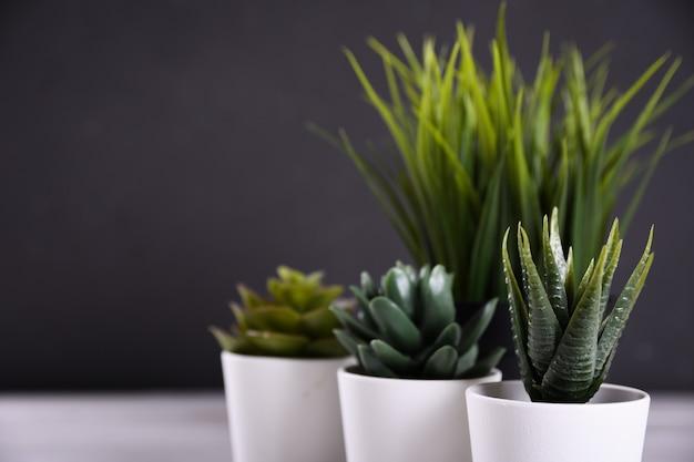 Unterschiedliche form des grases der künstlichen blumen in einem topf auf hölzernem hintergrundabschluß oben mit kopienraum und -text Premium Fotos