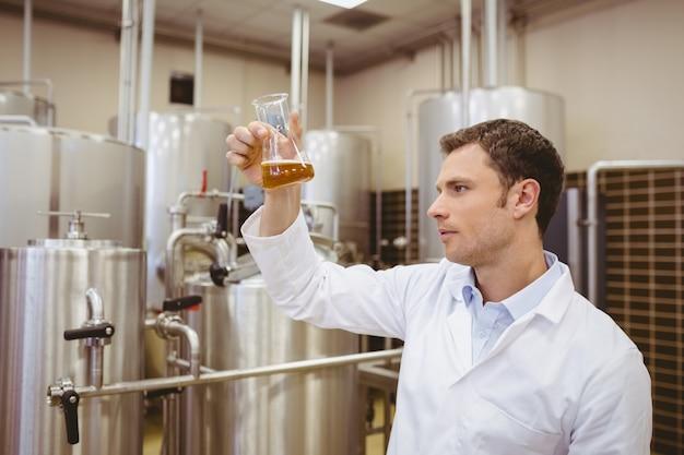 Untersuchungsbecher des fokussierten brauers mit bier Premium Fotos