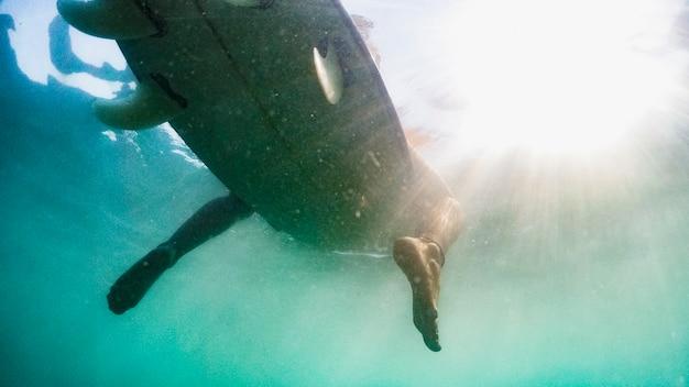 Unterwasserschuß der frau mit surfbrett Kostenlose Fotos