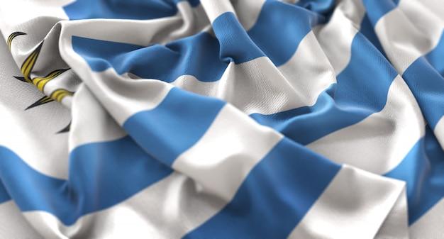Uruguay-flagge gekräuselt schön winken makro nahaufnahme shot Kostenlose Fotos
