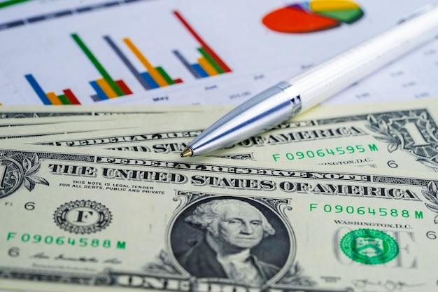 Us-dollar und eurobanknotengeld auf diagrammdiagramm-hintergrundpapier. Premium Fotos