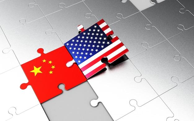 Usa- und china-flaggen auf puzzleteilen. Premium Fotos