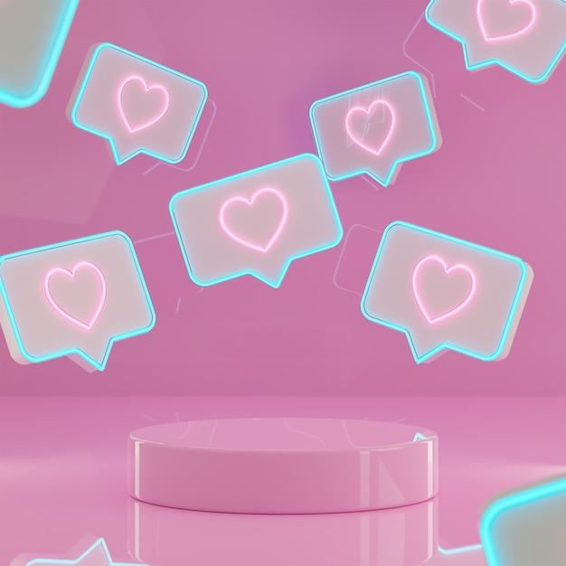 Valentinstag podium stehen hintergrund mit neon liebeszeichen 3d rendern Premium Fotos