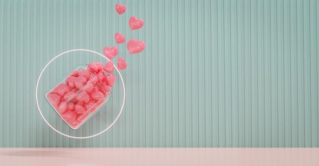 Valentinstag vitrine mit liebe und geometrie design form dekorieren. konzept für valentinstag und hochzeitshintergrund. 3d-rendering. Premium Fotos