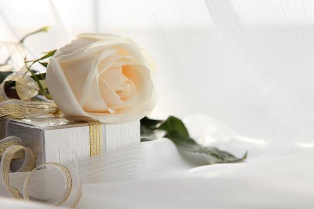 Valentinstag. weiße rose und ein geschenk. Premium Fotos