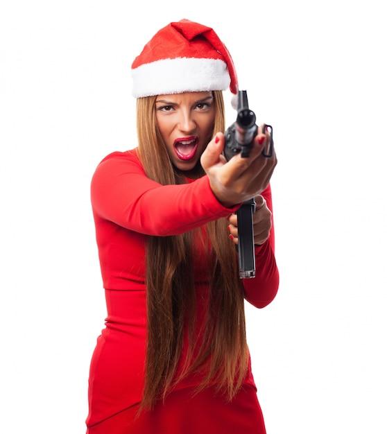 Verärgerte frau mit einer pistole Kostenlose Fotos