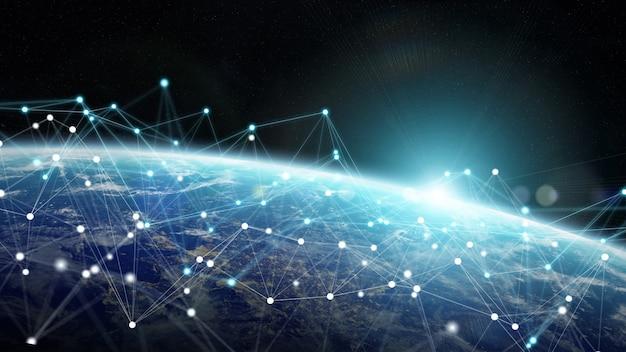 Verbindungssystem und datenaustausch auf 3d-rendering des planeten erde Premium Fotos
