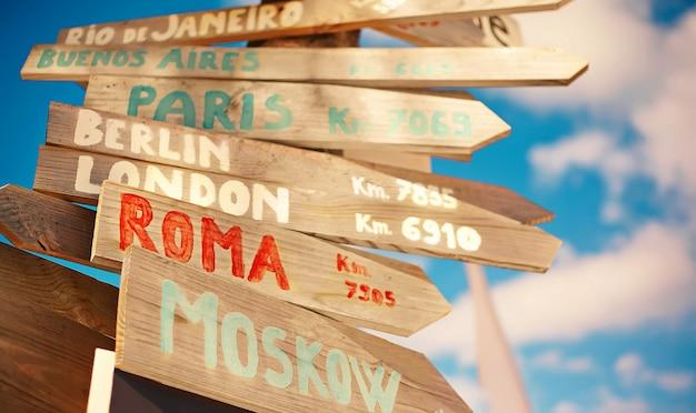 Verkehrsstraßenschild einschließlich moskau, rom, london, berlin, paris, rio de janeiro auf blauem himmelhintergrund im retro-stil Kostenlose Fotos