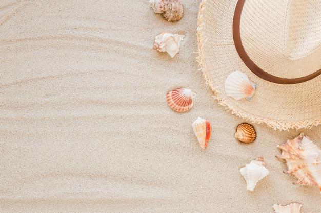 Verschiedene muscheln mit strohhut auf sand Premium Fotos