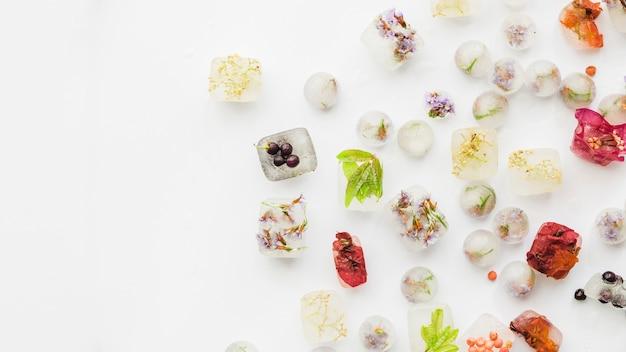 Verschiedene pflanzen in eisvierecken und kugeln Kostenlose Fotos