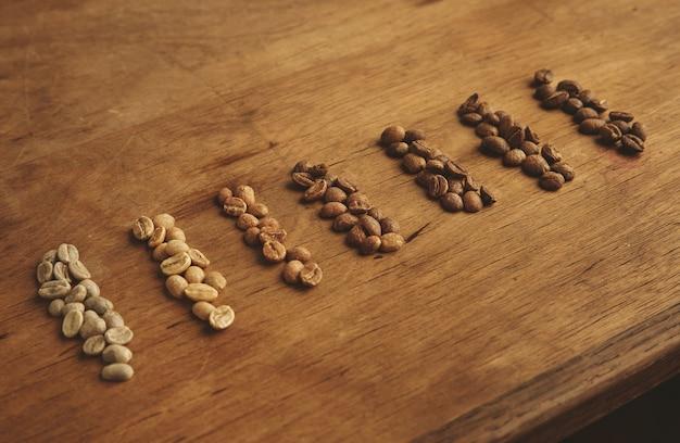 Verschiedene röstkaffeesorten, sieben sorten, von rohen frischen bohnen bis zu schokoladenwarmer backform für espresso. Kostenlose Fotos