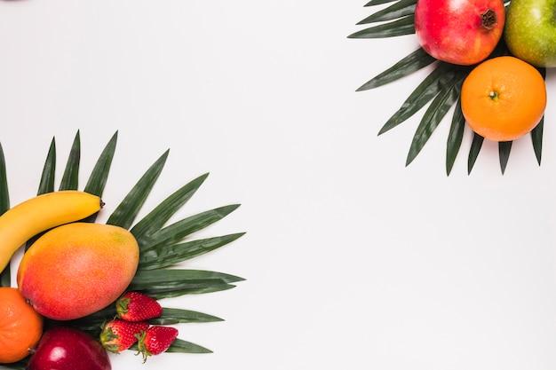 Verschiedene tropische früchte auf palmblättern Kostenlose Fotos