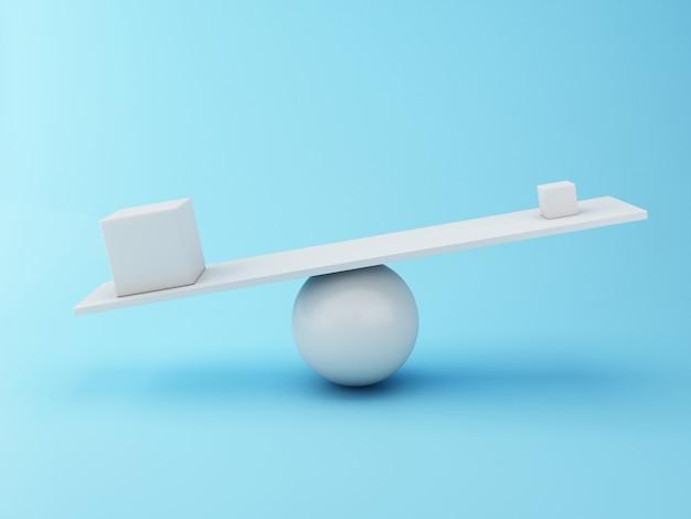 Verschiedene würfel 3d, die auf einer wippe balancieren. Premium Fotos