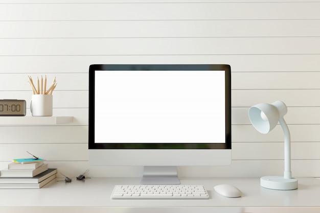 Verspotten sie herauf arbeitsplatzcomputer mit leerem bildschirm auf weißer tabelle. Premium Fotos