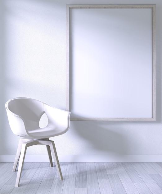 Verspotten sie herauf plakatrahmen mit weißem stuhl auf weißer wand des raumes auf weißem bretterboden Premium Fotos