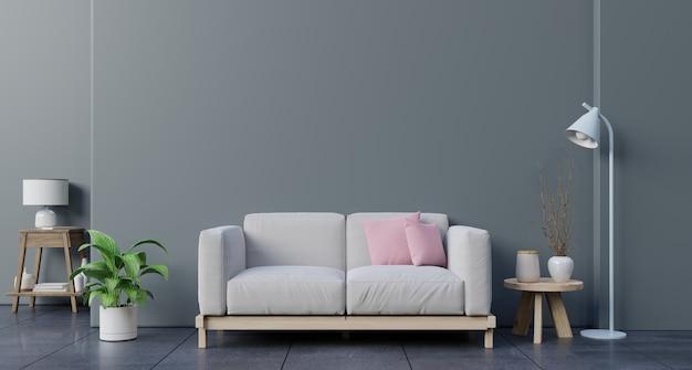 Verspotten sie herauf wand im wohnzimmer mit sofa, anlagen und tabelle auf leerer dunkler wand. Premium Fotos