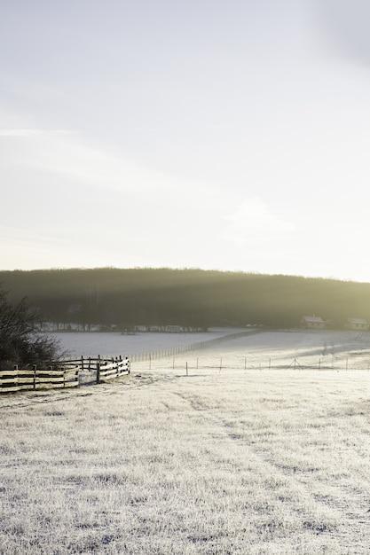Vertikale aufnahme eines mit schnee und sonnenlicht bedeckten tals im winter Kostenlose Fotos