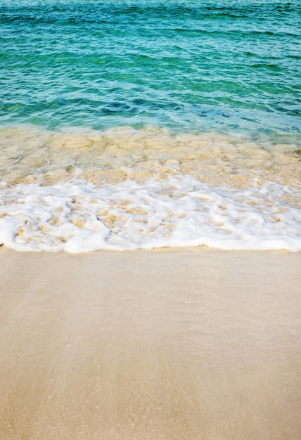 Vertikales bild des strandes, umgeben vom meer unter dem sonnenlicht Kostenlose Fotos