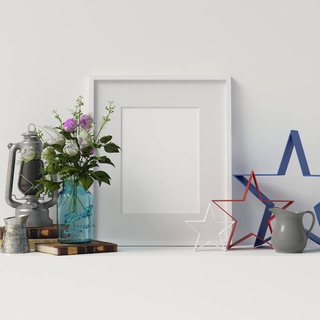 Veteran day mock up plakatrahmen mit dekoration Premium Fotos