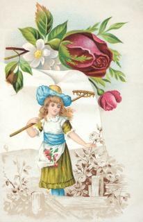 Victorian handels-karte gartenarbeit mädchen Kostenlose Fotos