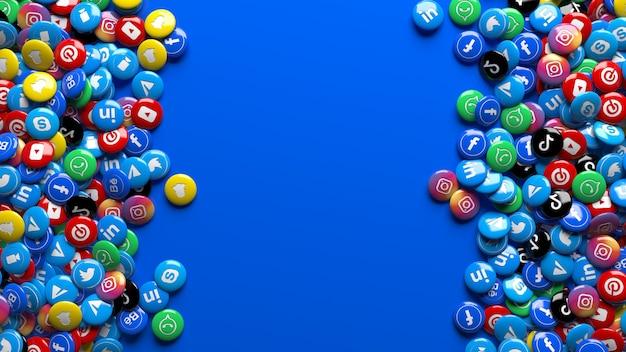 Viele 3d-mehrfarbige hochglanzpillen des sozialen netzwerks über einem blauen hintergrund Premium Fotos
