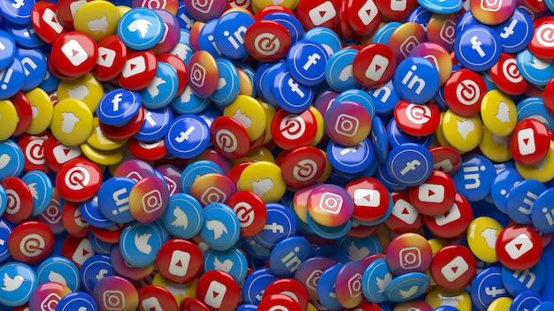 Viele 3d mehrfarbige soziale netzwerk hochglanzpillen in einer nahaufnahme Premium Fotos