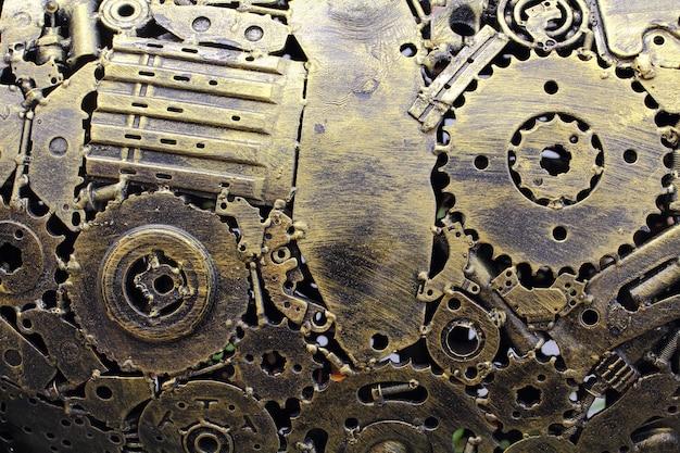 Viele alte rostige metallzahnräder oder maschinenteile Premium Fotos