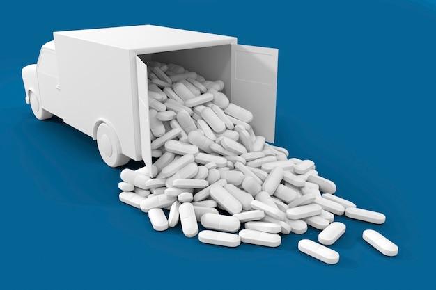 Viele pillen ergossen sich aus dem lkw. die konzeptkunst zum thema drug delivery Premium Fotos