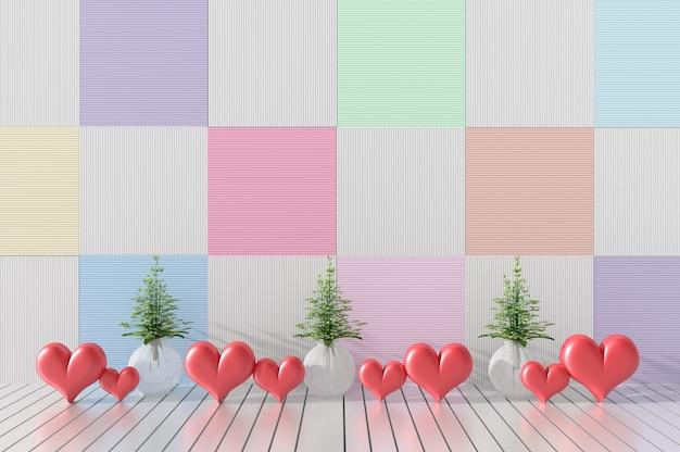 Viele Roten Herzen Und Glas Wein Im Zimmer. Vielfalt Farbe Holz Wände.  Valentinstag.