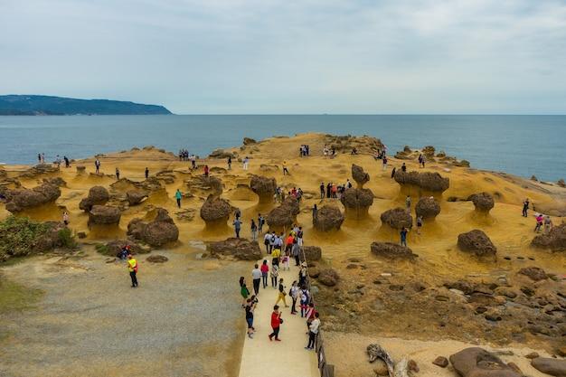 Viele touristen passen den stein seltsame form an yehliu geopark, neue taipeh-stadt, taiwan auf. Premium Fotos