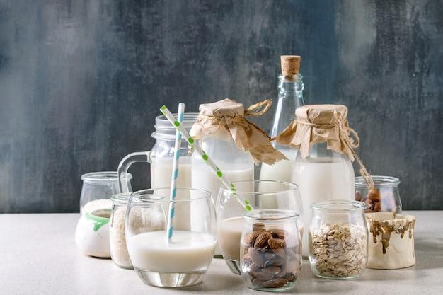 Vielzahl von nichtmilchprodukten Premium Fotos