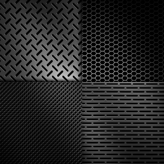 Vier arten abstrakte moderne graue perforierte metallbeschaffenheiten für hintergrund Premium Fotos
