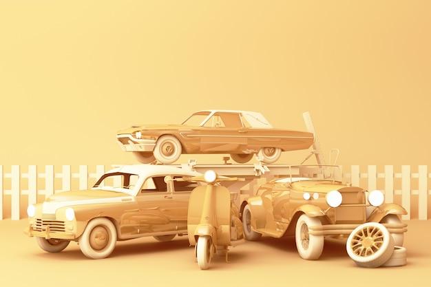 Vintage-autos in der gelben pastellfarbe mit weinlese-roller auf gelbem hintergrund. 3d-rendering Premium Fotos