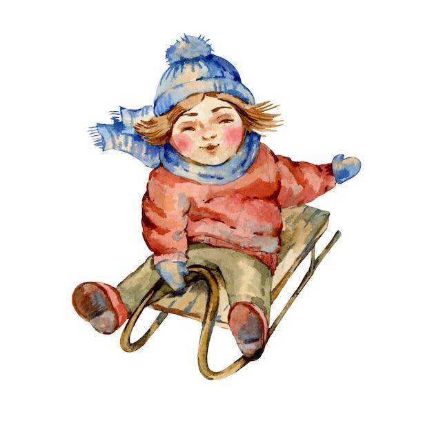 Vintage illustration des weihnachtsaquarells, nettes rodelndes kind, zeichentrickfilm-figuren Premium Fotos