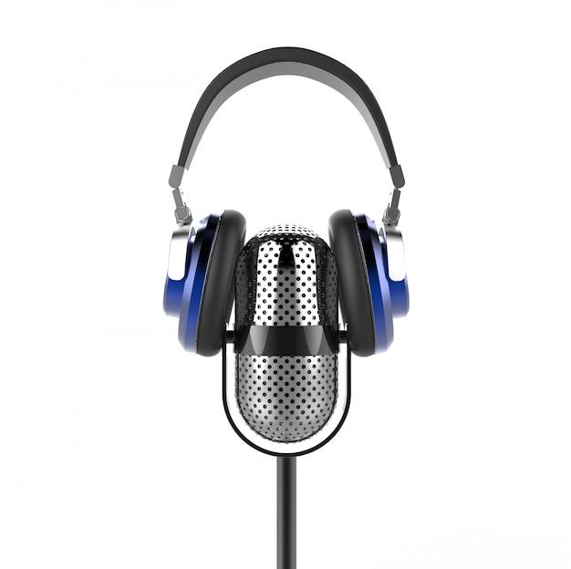 Vintage mikrofon mit modernen kopfhörern Premium Fotos