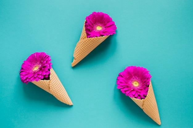 Violette gerberablumen eingewickelt in den eistüten Kostenlose Fotos
