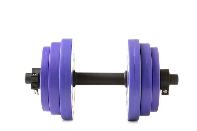 Violette turnhantel lokalisiert auf weißem hintergrund Premium Fotos