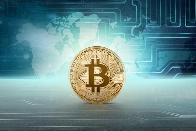 Virtuelles geld goldenes bitcoin Premium Fotos