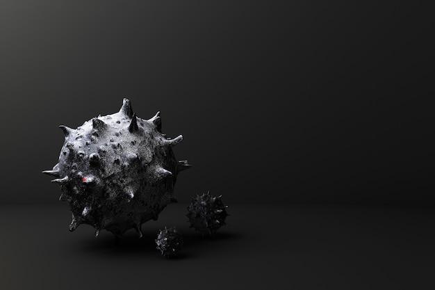 Virus auf 3d-rendering des schwarzen hintergrunds Premium Fotos