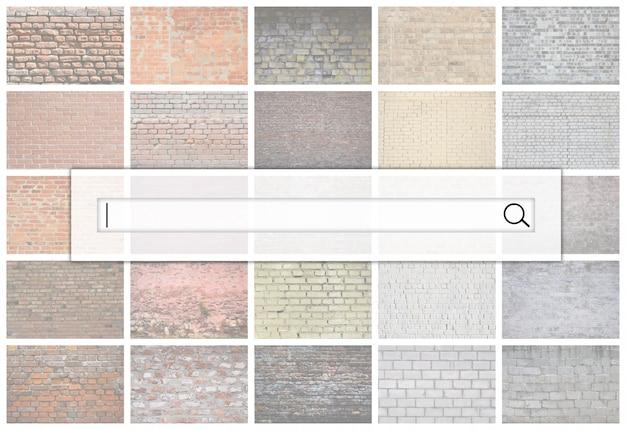 Visualisierung der suchleiste auf dem hintergrund einer collage vieler bilder mit fragmenten von backsteinmauern Premium Fotos