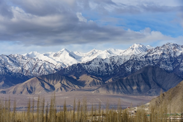 Vogelperspektive der stadtbild-leh-stadt oder des stadtzentrums mit gebirgshintergrund vom fenster von leh palast bei leh ladakh, jammu und kashmir, indien Premium Fotos