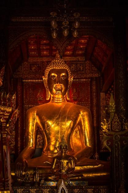 Volle alte antike thailändischer goldener buddha-kunst wachsen im dunklen vertikalen schuss Premium Fotos