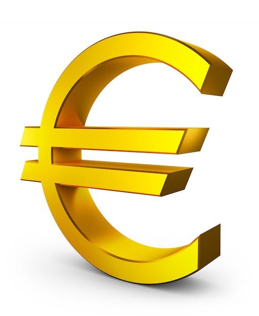 Volumetrisches eurozeichen der goldfarbe. 3d-rendering. Premium Fotos
