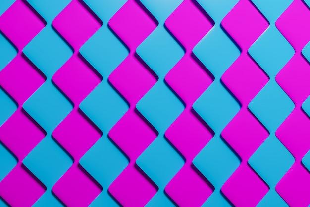 Volumetrisches rosa und blaues muster der 3d-illustrationtechnologiegeometrie-neonhintergrund Premium Fotos